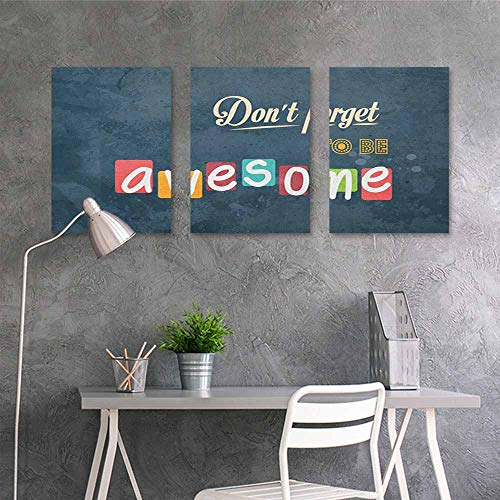 HOMEDD Abstract Oil Paintings Sticker,Motivational Inspirational Being Awesome Quote Different Fonts Vintage Background Happy,Oil Canvas Painting Wall Art 3 Panels,24x35inchx3pcs Multicolor -