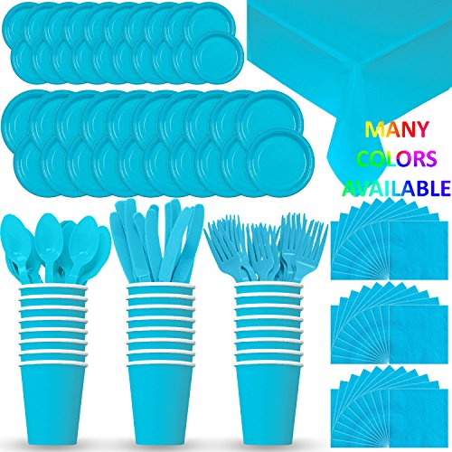 (HeroFiber Disposable Paper Dinnerware for 24 - Aqua / Island Blue - 2 Size Plates, Cups, Napkins , Cutlery (Spoons, Forks, Knives), and tablecovers - Full Party Supply Pack)
