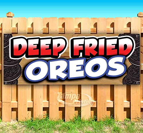 DEEP Fried Oreos 13 oz Heavy Duty Vinyl Banner Sign with Metal Grommets, New, Store, Advertising, Flag, (Many Sizes Available)