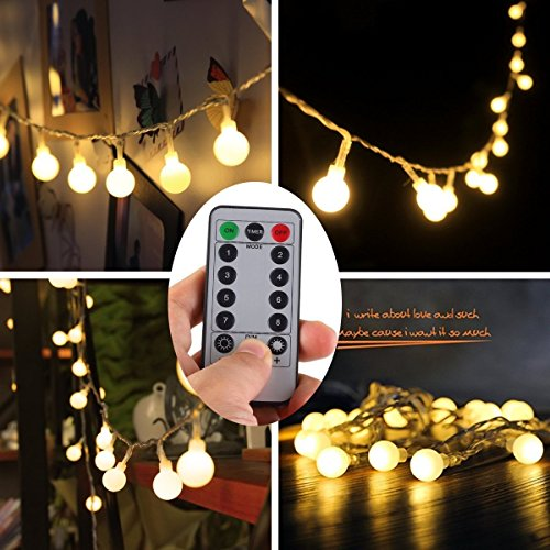 Globe Ball Fairy String Lights,[Remote & Timer] YAOXI 50LED Waterproof Dimmable Outdoor Frosted White Ball String Lights 8 Modes Battery Operated (Warm White) ()