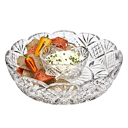 Beautiful Decorative Chip and Dip Set, Dessert and Snack Server 12-Inch Crystal Entertaining Chip and Dip Serve-ware, ()