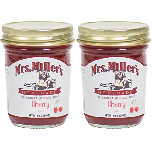 Mrs. Millers Amish Homemade Cherry No Granulated Sugar Added Jam 9 Ounces - Pack of 2 (No Corn Sugar)