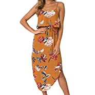 Hotkey® Clearance Women Dresses On Sale Floral Printed Cocktail Party Evening Long Dress Beach Sundress for Summer