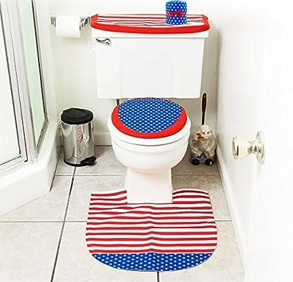 High Quality 4th Of July Bathroom Decor 4 Pcs Set   Patriotic Bathroom And Toilet Set