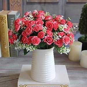 GSD2FF 1 Bouquet 15 Buds Artificial Flowers Silk Flower Fall Roses Fake Leaf Wedding Decor Home Christmas Ornament,2 36
