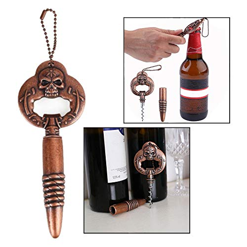 OFKP 2 in 1 Wine Bottle Opener Zinc Alloy Creative Skull Head Wine Corkscrew Opener Bar Tools Funny Gift