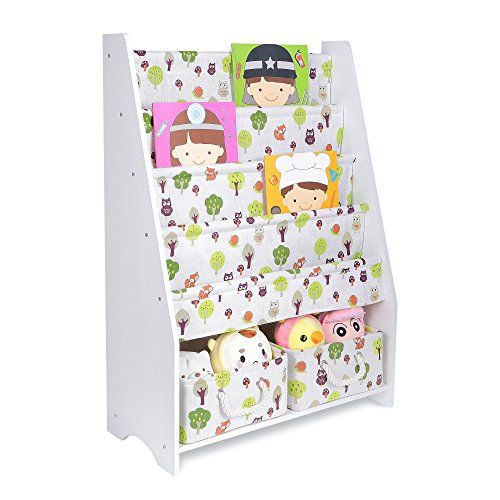 COOFOK Kids Bookshelf, Book Toy Rack Storage Organizer 2 Packs Foldable Cube Bins (White)