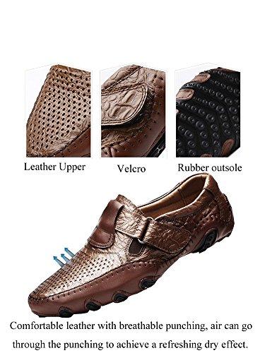 Cuoio Eleganti Nero Estivi Loafers Scarpe Mocassini Classico Uomo Durevole Antiskid Casual Traspirante tqxwaOq1X