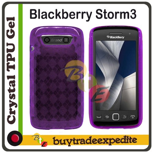 Blackberry Storm3 9570/ Monaco 9850/ Monza 9860 TPU Rubber Case - Purple Checker (Blackberry Monaco Case)
