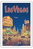 Las Vegas, Nevada - Bonanza Air Lines - Vintage Style Airline Travel Poster by Kerne Erickson - Master Art Print - 12 x 18in