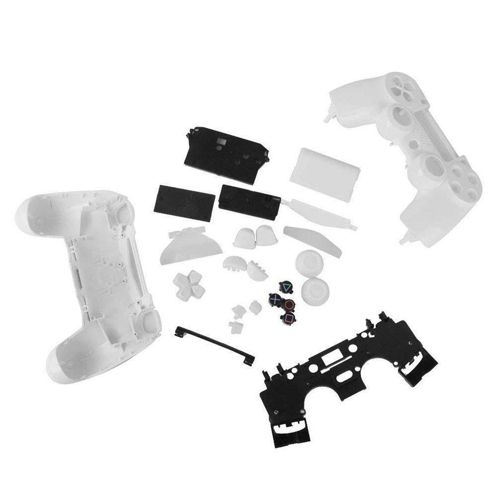 Sungpunet Case Cover Completa Sostituzione Housing Shell con Pulsanti Kit MOD per Playstation4 PS4 Controller Wireless Bianco