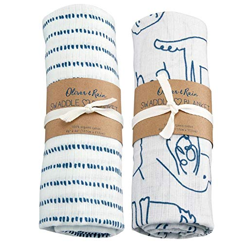(Oliver & Rain - Organic Cotton Muslin Navy Dog Print and Dash Print Swaddle Sampler, NB,)
