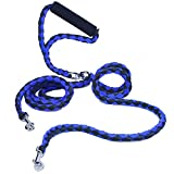 Double Dog Leash - Double Dog Leash No Tangle, PETBABA 4.6ft Long Padded Handle Braided Dog Lead for 2 Dogs Blue