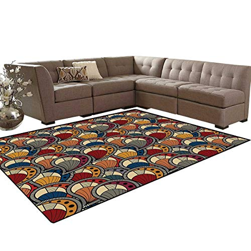 African Door Mats Area Rug Paisley Motifs with Geometric Design Dots and Lines Teardrop Shape with Curved Tip Anti-Skid Area Rugs 6'x9' Multicolor