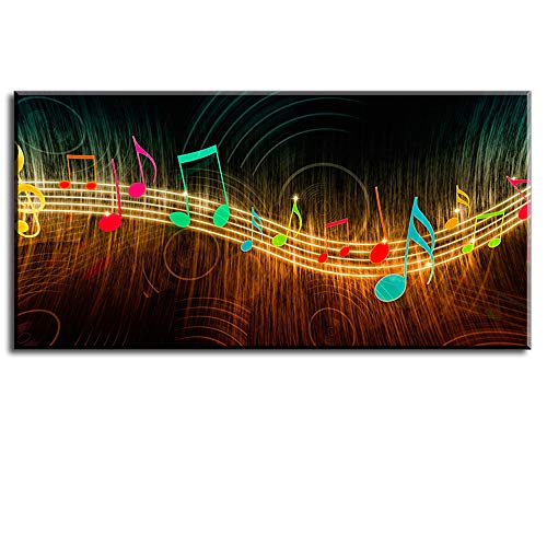 Music Wall Art for Bedroom, PIY Modern Musical Note Canvas Prints Stretched with Frame, Beautiful Notes Beating on Staff Picture Decor (1