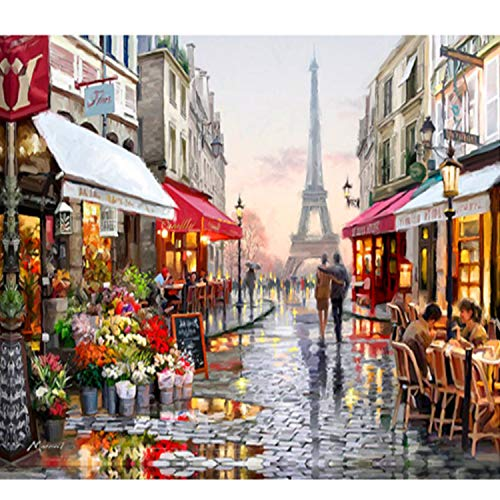 YINASI DIY Oil Paintings, Handmade Eiffel Tower Paris Street Lovers Wall Art Work for Living Room Bedroom Home Decorations Wall Decor