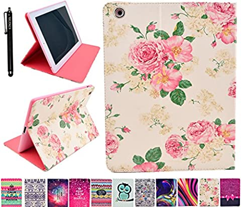 iPad 4/3/2 Case KingCool Floral Flower Printed PU Leather Wallet Type Stand Case Cover for Apple iPad 4/iPad 3/iPad 2 Generation(9.7 inch)-Not fit for iPad Mini 1/2/3 Generation(7.9 (Ipad Air 2 Cover Printed)