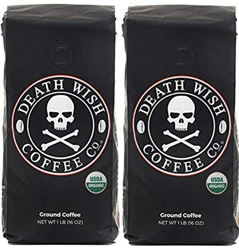 Death Wish Ground Coffee, The World's Strongest Coffee, Fair Trade and USDA Certified Organic, 16 Ounce (Pack Of 2)