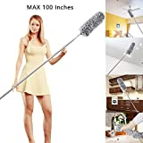 Microfiber Duster with Telescoping Extension Pole (30 to 100 inches) with Scratch-Resistant Cover, Bendable, Washable, Hypoallergenic, Lint Free Dusters for Cleaning Ceiling Fan, Blinds, Cobwebs, Baseboards