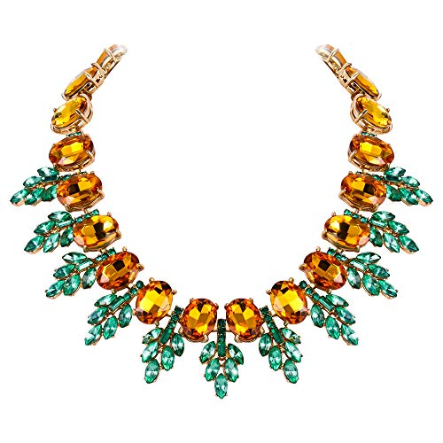Flyonce Women's Oval Rhinestone Crystal Vintage Style Leaf Chunky Necklace Brown Antique Gold-Tone