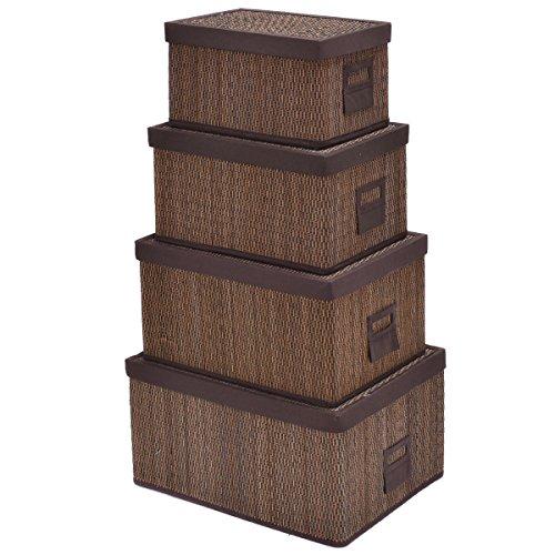 Metallic Finish Wood Toilet Seats (Bamboo Storage Baskets Folding Nesting Rectangular Organizer w/Lids New Brown Set of 4)