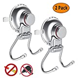 Suction Cup Hook & Bath Towel Hook | Perfect Household Accessory | Ideal for Kitchen Toilets & Bathrooms | Stainless Steel Chrome Finish | Easy to Install & Remove | Works on all Flat Surfaces