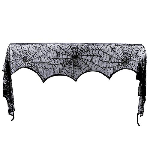 Hokic Halloween Decoration Halloween Black Lace SpiderWeb Fireplace Mantle Scarf Cover For Halloween Party Supplies 18 x 96 -