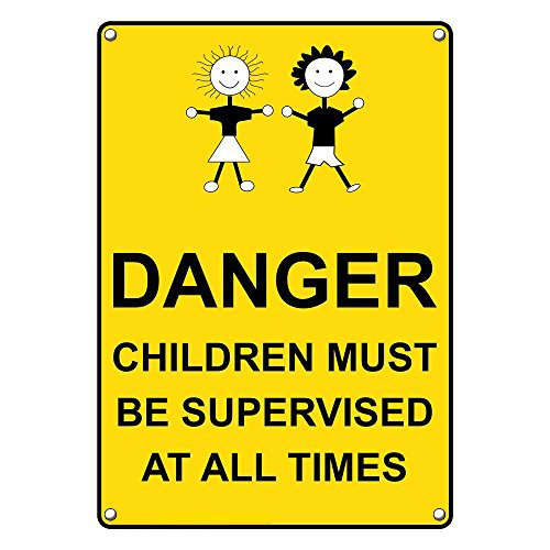 Weatherproof Plastic Vertical Danger Children Must Be Supervised at All Times Sign with English Text and Symbol