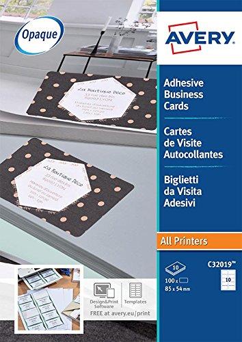 AVERY C32019 10 Lot De 100 Tiquettes Au Format Cartes Visite Autocollantes Blanc Mat