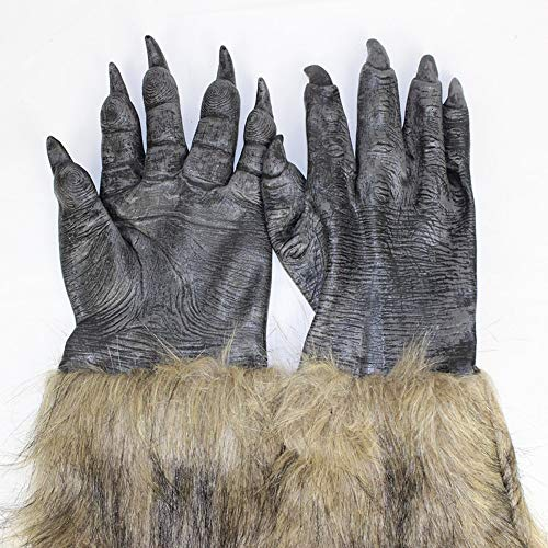 1 Pair Classic Halloween DIY Creative Werewolf Wolf Paws Claws Cosplay Gloves Creepy Costume Party Fashion Wholesale