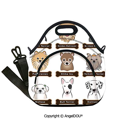 AngelDOU Dog Lover Decor Neoprene Lunch Tote bag With shoulder strap Various Type of Dogs Nameplate Boston Terrier domestic animal Faithful Loyal Outdoor Travel Picnic Beach Part12.6x12.6x6.3(inch) ()