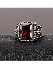 خاتم بمظهر معتق كلاسيكي مصنوع من الستانلس ستيل مع كريستالة حمراء مقاس 9