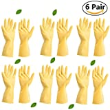 #4: 12 Gloves (6 Pairs) Unbreakable Heavy Duty Kitchen Rubber Cleaning Gloves Dishwashing Clean Yellow flock Lined Latex Glove Reusable with Household Powder Free, Size Medium