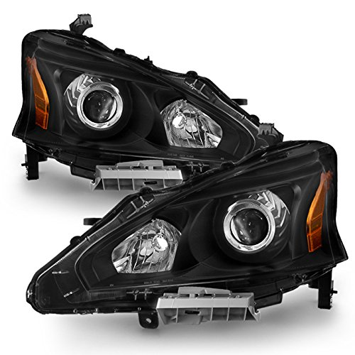 For Black 13-15 Altima 4 Doors Sedan Halogen Type Headlights Front Lamps Replacement Pair Left + Right