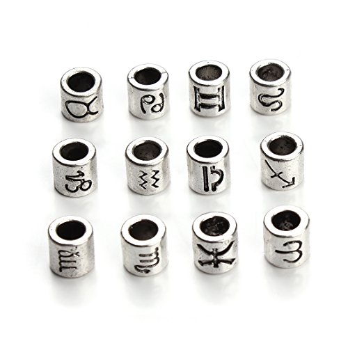 - Linsoir Beads Antique Silver Tone Zodiac Beads Charm 4mm Hole Horoscope Beads Fit European Bracelet Pack of 60 Pcs