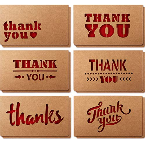12 Packs Kraft Thank You Cards, 6 Kraft Die Cut Designs with Envelopes and Blank Red Matte Card Inside for Business, Wedding, Gift Cards, Graduation, Baby Shower, Appreciation and More, -
