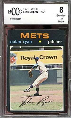- 1971 topps #513 NOLAN RYAN new york mets BGS BCCG 8 Graded Card