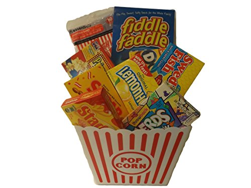 Ideal Big Movie Night Popcorn and Candy Gift Bundle - 10 Items: Large Popcorn Tub, Popcorn Bags, Primetime Extra Butter Popcorn, Fiddle Faddle, Dots, Starburst, Sugar Babies, Swedish Fish, Lemonhead and Rainbow Nerds Candy
