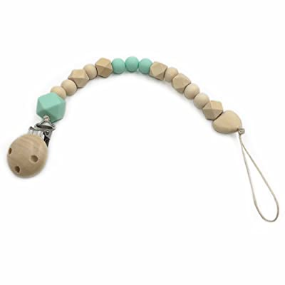 Amyster Baby Teething Toy Teether Rattle Teether Silicone and Wood Pacifier Clip Wooden Beads Developmental Toy (Mint Green) : Baby