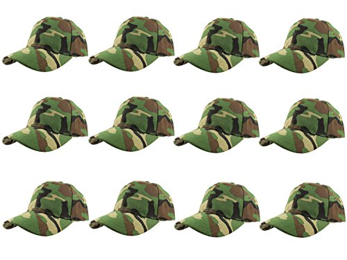 (Gelante Plain Blank Baseball Caps Adjustable Back Strap Wholesale LOT 12 Pack- 001-Camo)