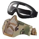 Balight Adjustable Half Metal Steel Mesh Face Mask and Goggles Set