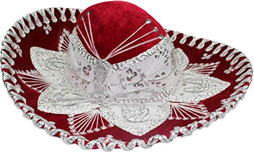 Authentic Mariachi Flowers Style Hat Fancy Premium Mexican Sombrero Charro Hats Made in Mexico (Choose Size & Color) (Child, Red/Silver) -