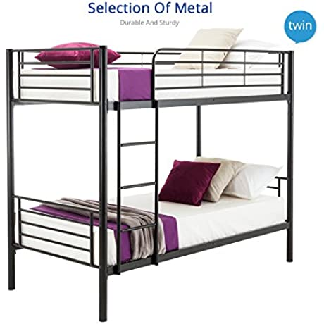 DFM Twin Over Twin Metal Bunk Beds Frame With Ladder For Kids Adult Black