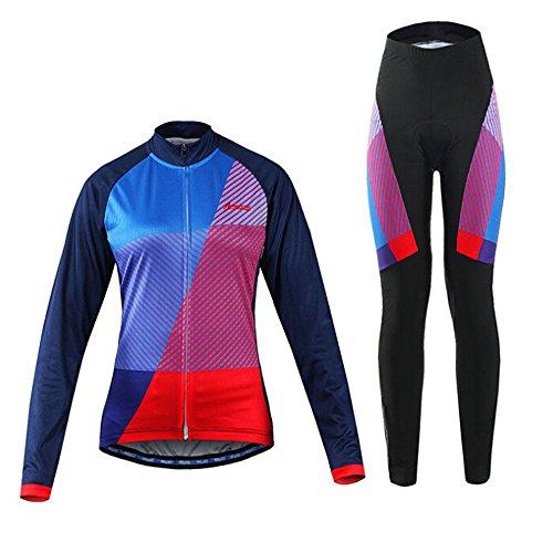 Sanzone レディース サイクルジャージ  長袖 上下セット サイクルウェア サイクリング 個性 快適 吸汗 伸縮 速乾 通気