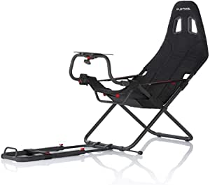 Playseat Challenge Black | Popular foldable budget racing chair | Set up in several seconds| Unique foldable design| Seat is very compact, stable and adjustable