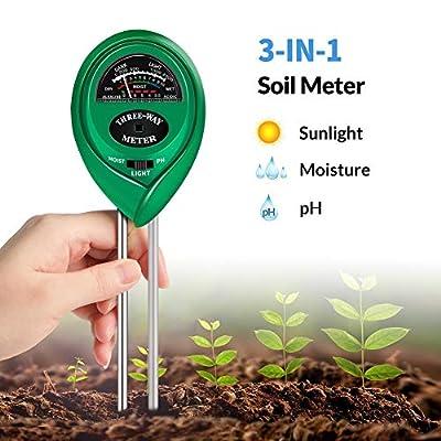 K KERNOWO Soil Test Kit, 3-in-1 Soil pH Meter with Moisture, Light and PH Tester for Garden, Farm, Lawn, Indoor & Outdoor (No Battery Needed)