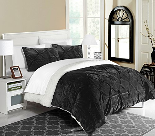 Chic Home 3 Piece Josepha Pinch Pleated Ruffled & Pintuck Sherpa Lined Comforter Set, Queen, Black