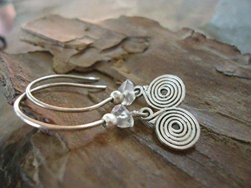 ✿ CIRCULAR SPIRAL & NATURAL CRYSTAL ✿ Earrings