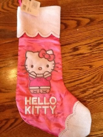 Hello Kitty Holiday Stocking Pink Satin with White Feltcuff and Toe