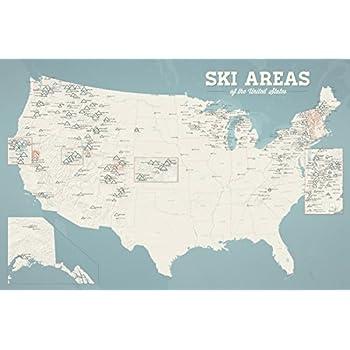 Us Ski Resorts Map Poster North America Ski Resorts Map - Map of us ski resorts